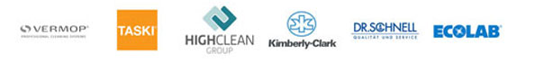 Alles Clean 24 Partner: Vermop, Taski, HighClean, Kimberly-Clark, Dr. Schnell, EcoLab